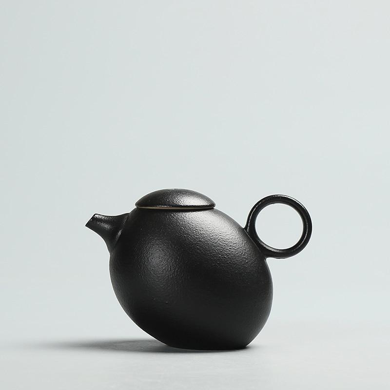 Kreative schwarze Keramik Teekannen handgemachte Vintage Keramik Teekanne chinesische Kung Fu Tee Set Wasserkocher Zufriedenheit Drink