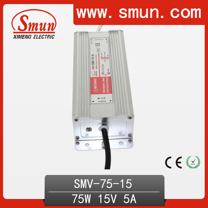 75W 15V 5A Waterproof IP67 LED Driver Switching Power Supply for Led Strip Light with CE ROHS 1 Year Warranty SMV-75-15