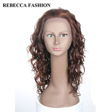 Rebecca Remy Long Curly Lace Front Human Hair Wigs For Black Women Fashion Curly Hair Dark Brown mix Light brown  Lace Wigs