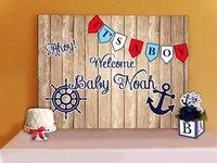 Custom Anchor Nautical Flag Barn Wood Vintage Hard backdrops High quality Computer print party background