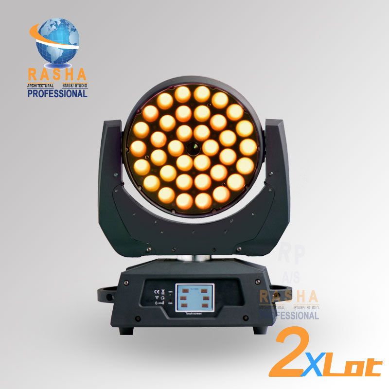 2X LOT Hot Sale 36pcs*18W 6in1 RGBAW+UV Zoom LED Moving Head Wash With Touch Screen LCD Diplay,DMX IN&Out, Powercon 110 240V