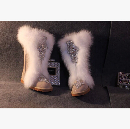 kqaoqao Fur Snow Boots 2018 Genuine Leather Flat Shoes