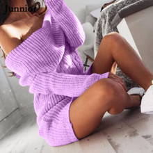 Plus Size Winter Women Sexy Off Shoulder Solid Long Sleeve Long Sweaters Dress Casual Knitted Dress Mini Dress