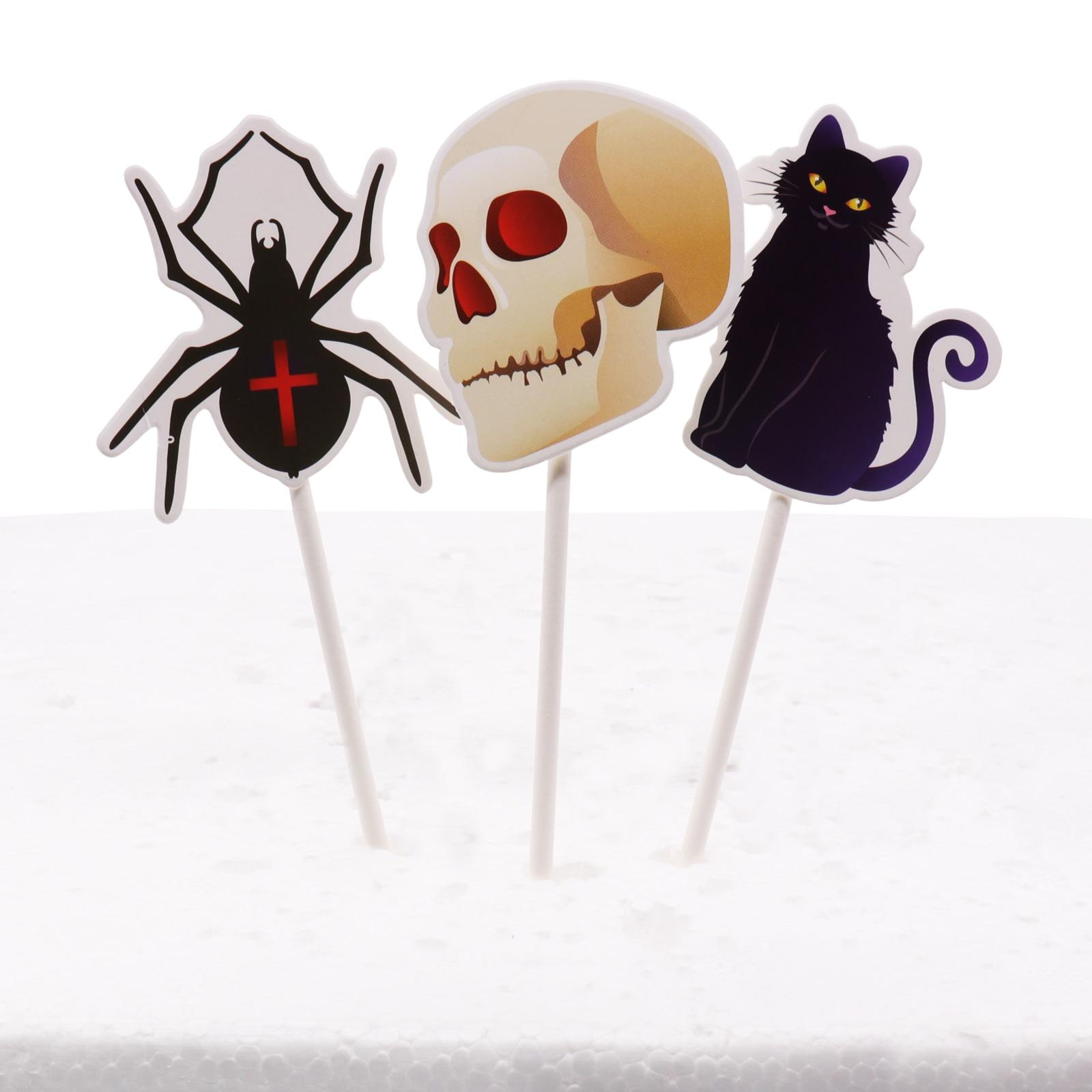 Silicone Mould Halloween Ghost Pumpkin Spider Bat Web Skeleton Cupcake Topper