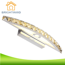 BRIGHTINWD 10W 15W LED Crystal Mirror Wall Lamp SMD 2835 Bathroom Lights 90-260V Stainless Sconces Indoor Home Crystal Lighting