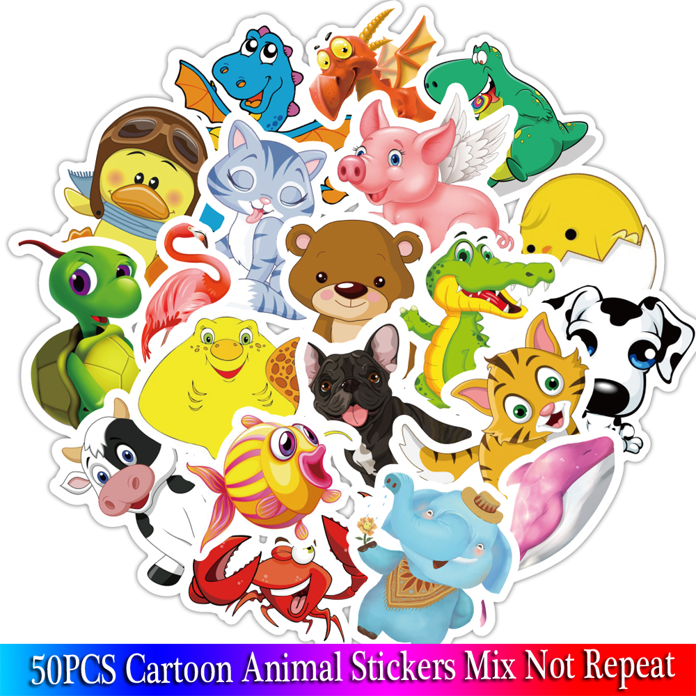 50PCS Animal Cartoon Stickers Starfish Kid Stickers For Girls Travel Case Bicycle Laptop Notebook Anime Stickers Set
