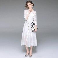 Dress New Women Spring Summer Striped Long Shirt Dress Ladies Elegant Casual Lapel Single Breasted 3