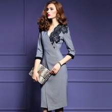 Women Embroidered V Collar Wear To Work Office Pencil Dress