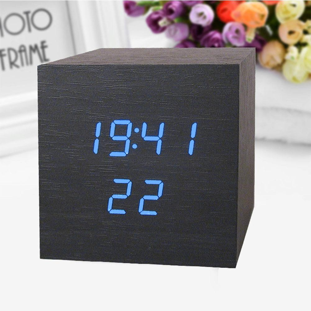 LumiParty Electronic LED Sound Sensor Wooden Clock Alarm Clock with Snooze Function Decoration Gift -25
