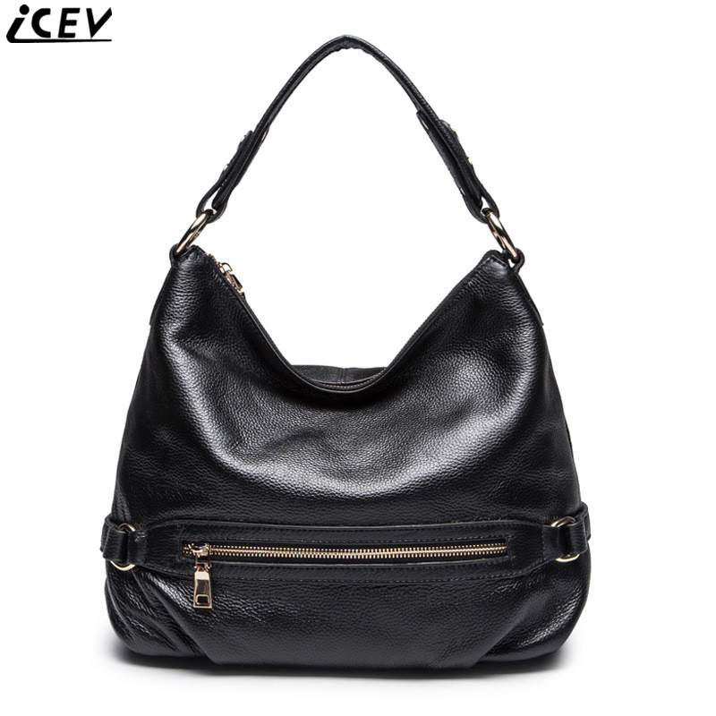 ICEV new 100% genuine leather handbag large capacity cowhide bags handbags women famous brands solid zipper casual female tote venstpow 50pcs lot metric thread din912 m3 m4 304 stainless steel hex socket head cap screw bolts bike screw