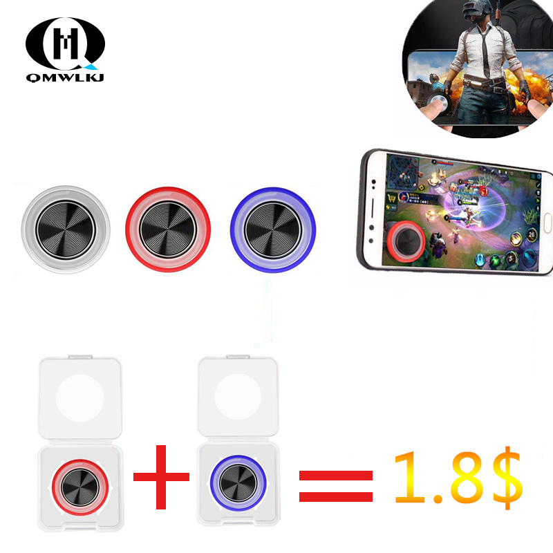 2pcs Round Game Joystick Mobile Phone Rocker Metal Button Controller game pad for pubg Suction Cup For Iphone Android