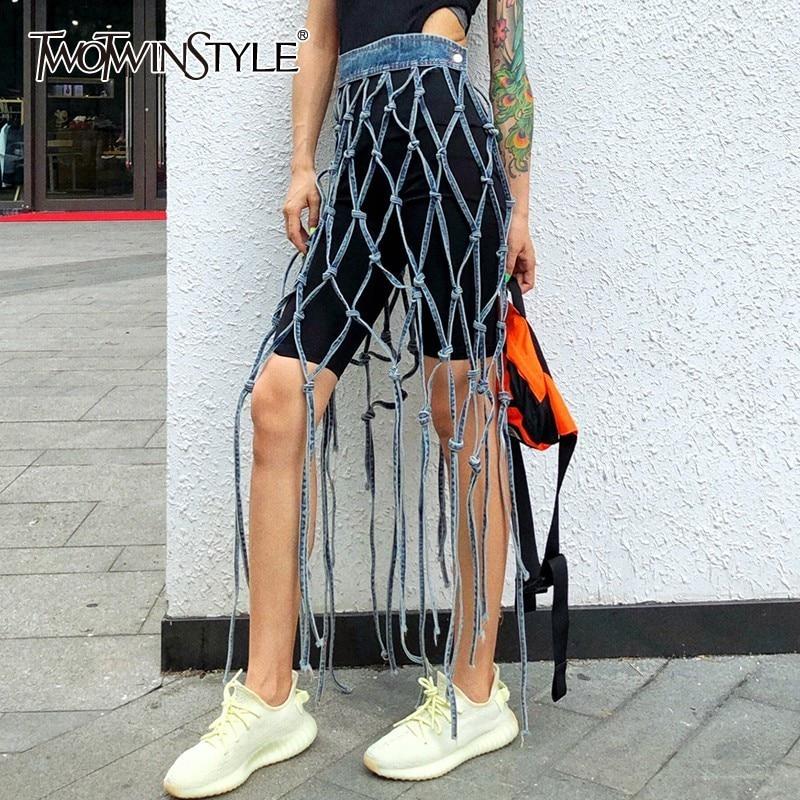 Deuxtwinstyle évider Denim femmes jupe taille haute irrégulière Shorts Patchwork jupes femme mode Streetwear 2019 été