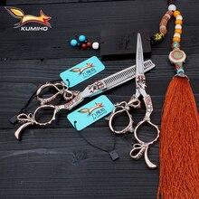 KUMIHO darmowa wysyłka nożyczki do włosów 6 cal zestaw nożyczki fryzjerskie uroda nożyce fryzjerskie wykonane z japonii 440C ze stali nierdzewnej