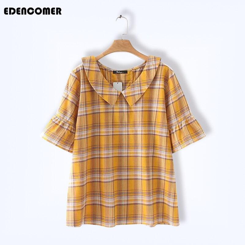Grande taille femmes vêtements 2019 été nouveau collier de poupée à manches courtes lâche Plaid chemises chemisiers grande taille hauts coréen Blouse