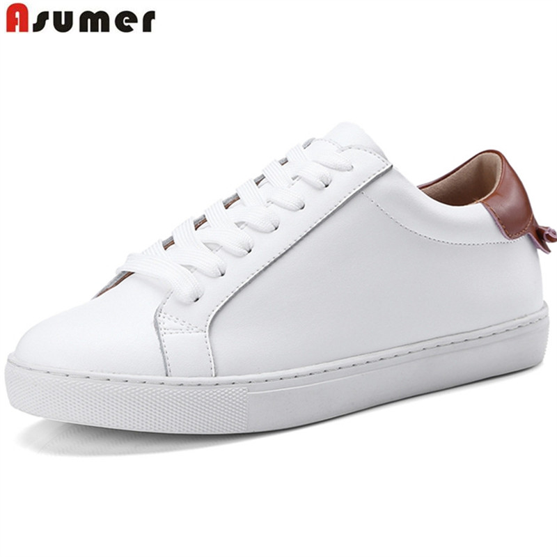 ASUMER 2018 fashion spring autumn new arrival flat shoes woman round toe lace up casual women genuine leather flats sneakers asumer black fashion spring autumn ladies shoes round toe lace up casual women flock cow leather shoes flats