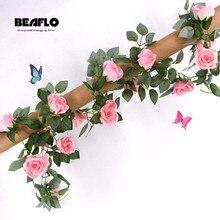 2,4 м шелка искусственные розы цветы ротанга строку лоза с зелеными листьями для дома Свадебные украшения сада подвесные гирлянды стены