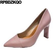 1decec29917397 Designer femmes luxe 2018 chaussures court pompes bout pointu élégant rose  beige bureau taille 4 34 formel talons hauts bloc chu.