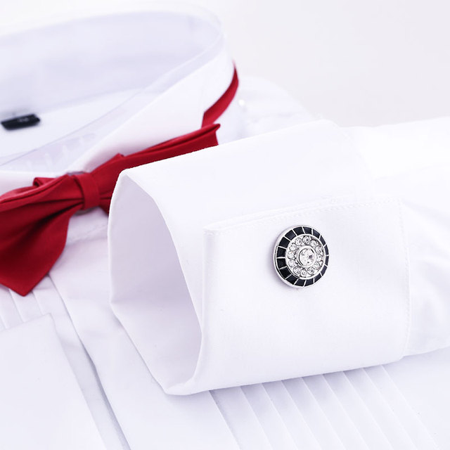 Elegant Wild Retro Rhinestone Black White Series Luxury Cufflink Business French Cufflinks