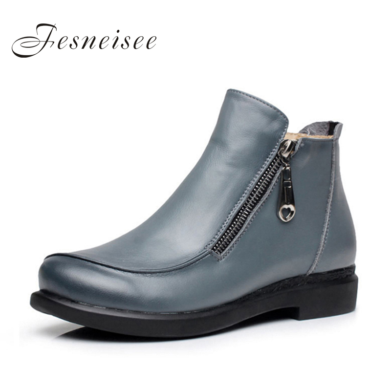 2017 New Autumn lady Winter Short Flat Heels Shoes Genuine Leather Boots Side Zipper Women Ankle Boots Plus Size 41-43 for femal
