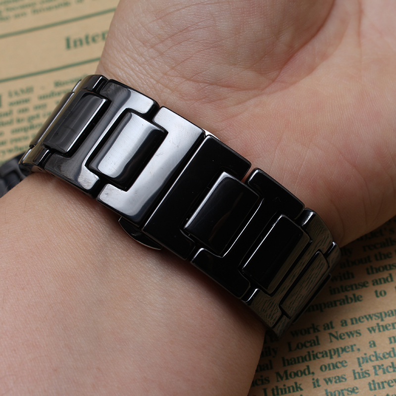 New Top quality Black Ceramic watcbands strap Belt bracelet band women men 20mm 22mm ceramic watch band Fit Samsung Gear S2 S3 for samsung gear s2 classic black white ceramic bracelet quality watchband 20mm butterfly clasp