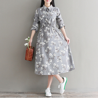 Mori Girl Fall Clothes 2017 New Autumn And Winter Flowers Long Dress Women Full Sleeve Floral