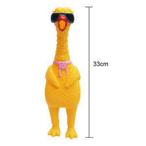 Rubber pet dog toy screaming chicken squeeze sound toy dog super durable and funny snoring yellow rubber chicken boring toy