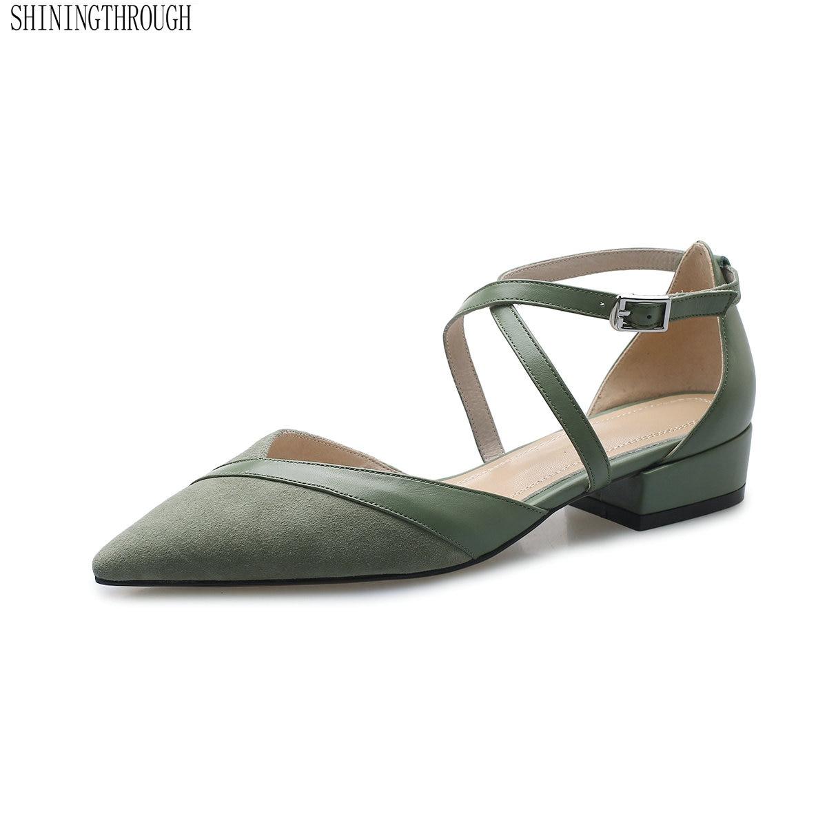 f0fe820ba07685 Frau Ferse Marke Leder schwarzes Mädchen Poined Beige Zehe Fashion Frauen  Niedrigen Arbeit grün Heels Neue Echtem Schuhe 4wqw7F