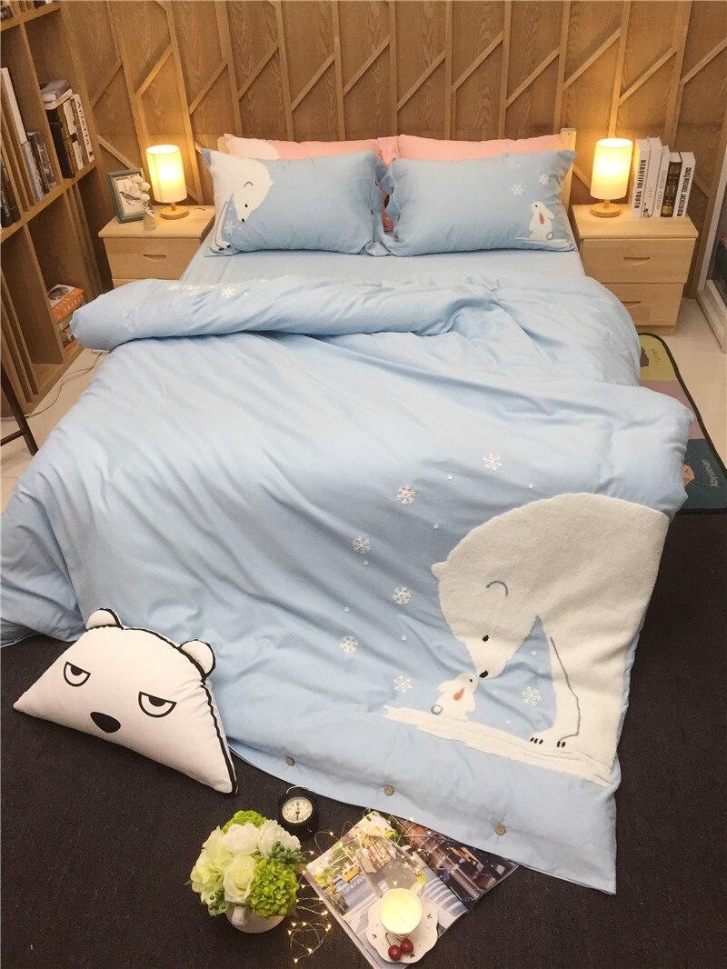 Комплект постельного белья с рисунком медведя из мультфильма для взрослых/детей/девочек, Комплект постельного белья из 100% хлопка розового