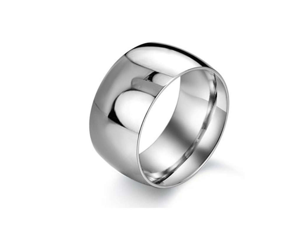 Stainless Steel Comfort Fit Plain Wedding Band Wide 12mm Ring Men-Women image