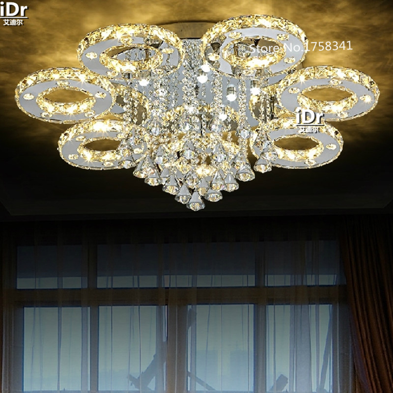 Round Crystal Lamp modern minimalist luxury bedroom living room lights LED Ceiling Lights creative restaurant lamp