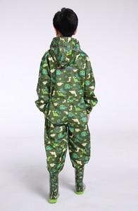 Image 2 - Chubasquero de dinosaurio para niños, capucha impermeable chubasquero para niños mono traje de lluvia, estudiantes bebé capa de lluvia poncho