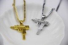 Fashion Jewelry Hip Hop Dance Charm Gun SUPREME Necklace Star Jewelry Men Franco Chain Hiphop Golden Necklace