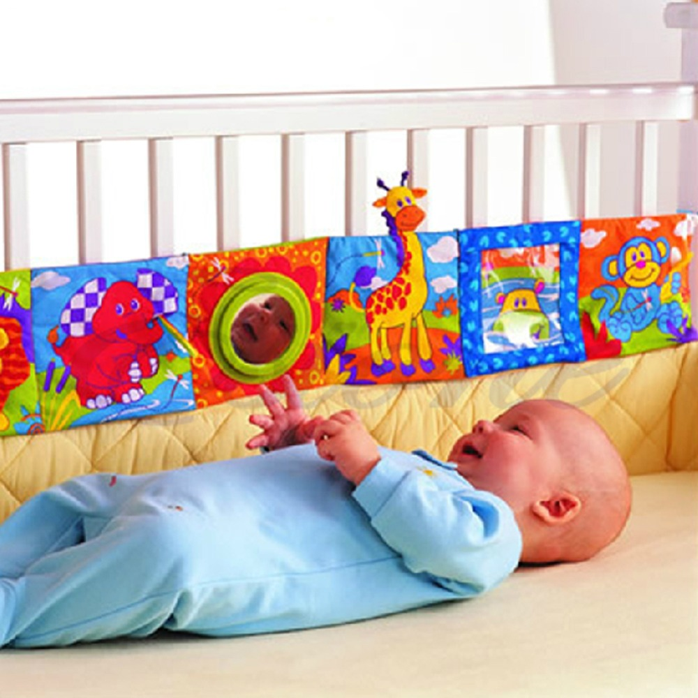 где купить Baby Toys Crib bumper Baby Cloth Book Baby Rattles Knowledge Around Multi-Touch Colorful Bed Bumper for Kids toys 96cm x 14cm по лучшей цене