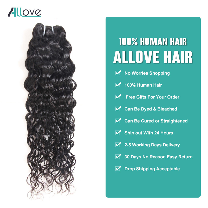 Allove Brazilian Water Wave Bundles With Closure 4PCS/LOT Human Hair Bundles With Closure 4x4 Non Remy Hair Free Shipping-in 3/4 Bundles with Closure from Hair Extensions & Wigs    3