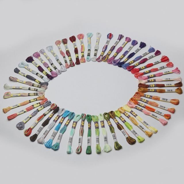 € 3.34 5% de DESCUENTO|Aliexpress.com: Comprar Hilado de hilo de algodón de  8,7 yardas por madeja de variación de Color bordado hilo Multicolor ...