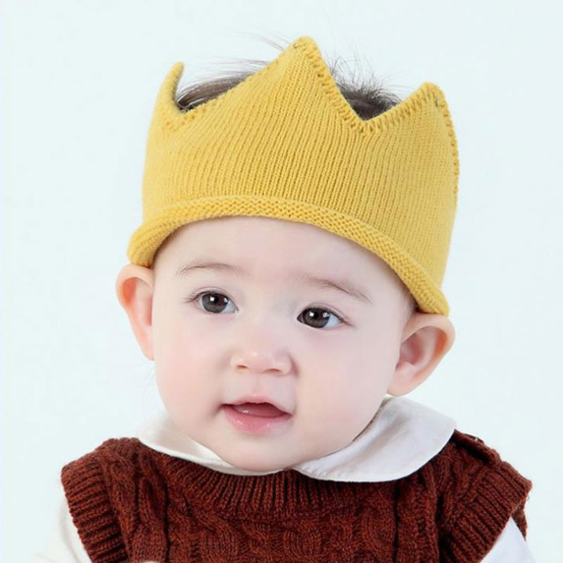 Newborn Baby Girl Boy Caps Kids Crown Knitted Headband Hat Photography Props Accessories Birthday Cap Infant Hats