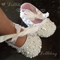 Christening Pearls Rhinestones Clear Crystal Baby Shoes Custom For Buyer White Ribbon Match Magic Childhood Keepsake