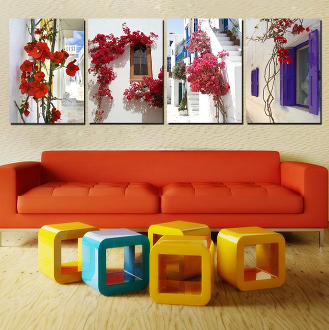 4 Panel Modern Kitchen Wall Decor Home Canvas Wall Painting Window Picture On Wall Hunging Decor