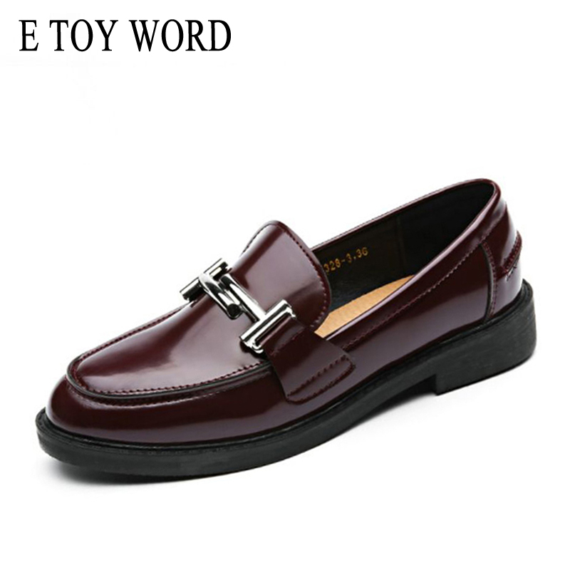E TOY WORD ballet dancers Moccasin Women oxfords Top Brand flats Round Toe Metal Decoration Patent Leather Women Shoes miquinha silver patent leather pointed toe women ballet flats ankle strappy metallic lock metal decoration party women shoes