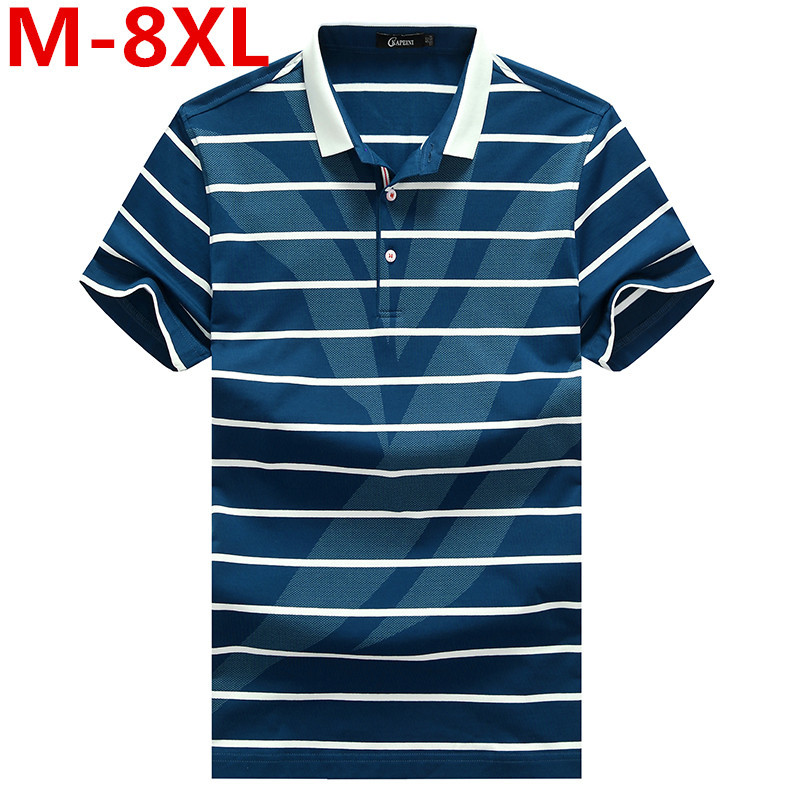 2017 new Plus Size Short Sleeve Turn-down Buttoned Collar Tees Embroidered Yarn Dyed Contrast Color Striped Polo Shirt for Men