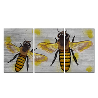 Modern Home Decor 3 Piece Animal Canvas Wall Art Insect Yellow Honey Bee on Wood Background Picture Print For House Garden Decor