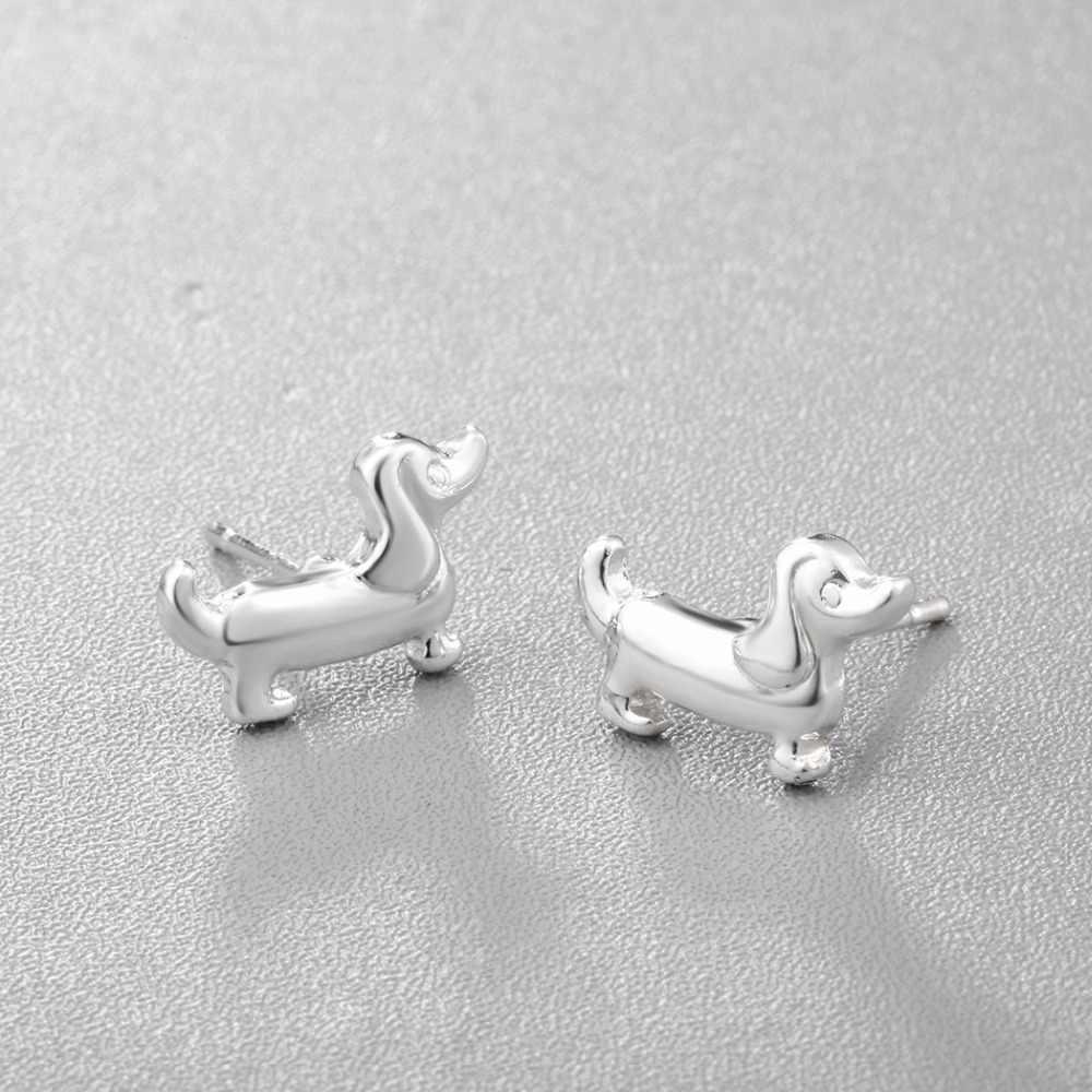 Kinitial חדש אופנה חמוד בעלי החיים Paw הדפסת עגילי זעיר נקניק כלב תחש Stud עגיל לנשים ליידי לב תכשיטים