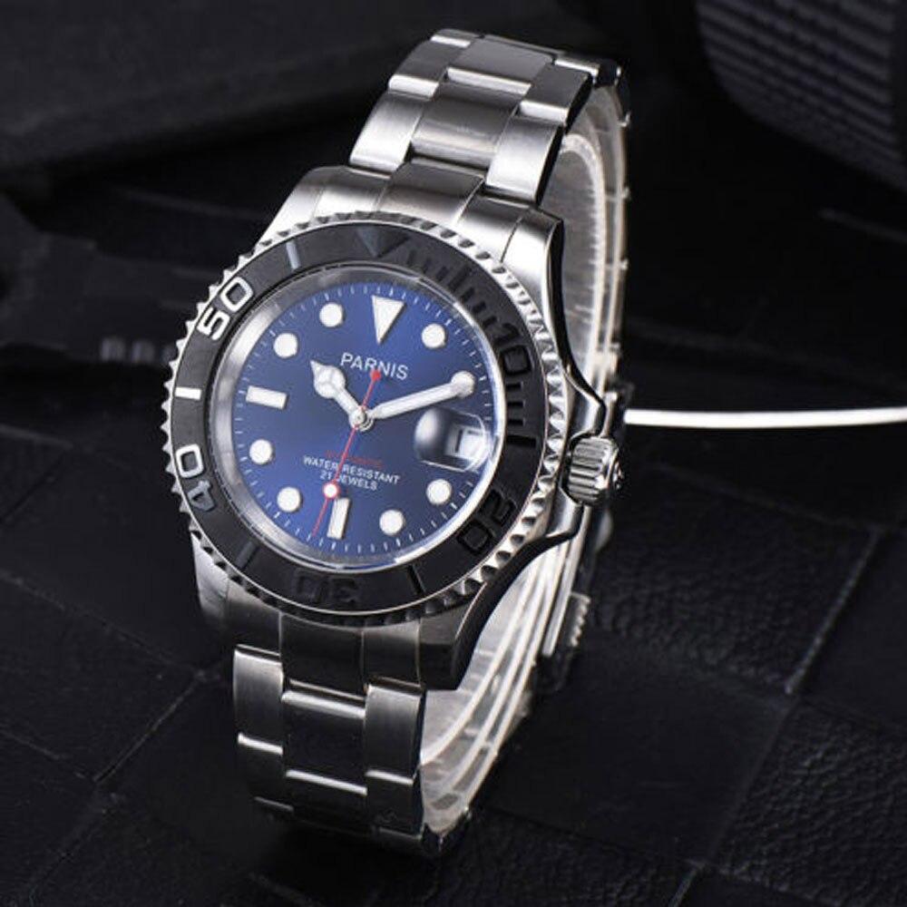 41mm parnis 블루 브라운 블랙 다이얼 사파이어 로맨틱 스위트 데이트 윈도우 21 보석 miyota 자동식 무브먼트 남자 시계-에서기계식 시계부터 시계 의  그룹 2