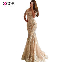 XCOS Champagne Lace Tulle Mermaid Half Sleeves Sexy Backless Prom Dress Illusion Sheer Scoop Evening Dress Gown Evening Dresses