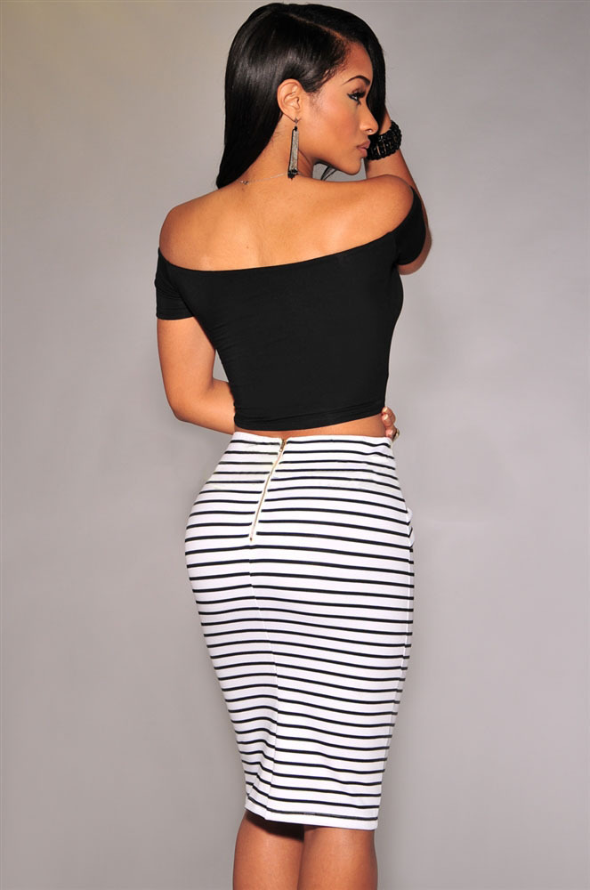 Black And White Striped High Waisted Skirt - Skirts