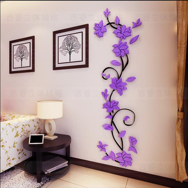 Aliexpress.com : Buy Fashion PVC Flower Mirror Home Art DIY Wall Sticker  Living Room Decal Decor wallpaper adesivo de parede purple pink flower from  ...