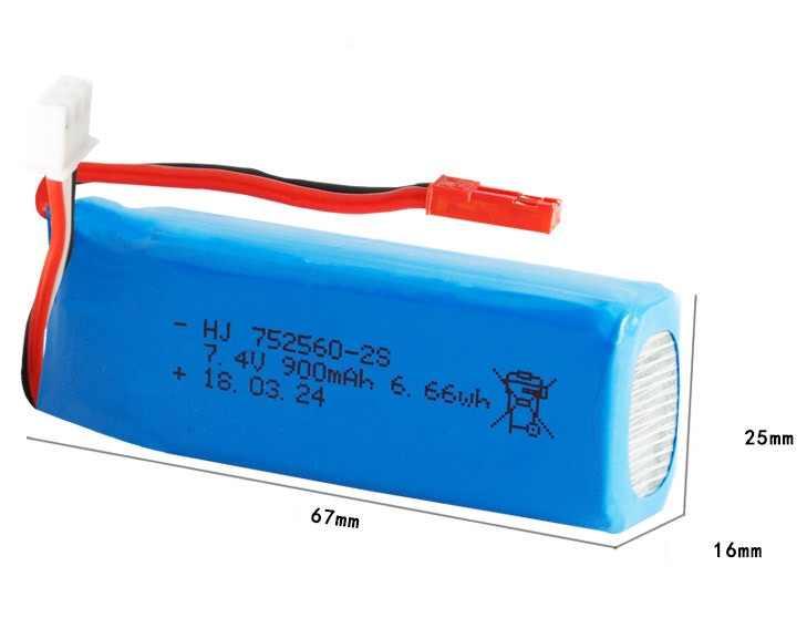 Batterie au Lithium ewellvendue 1 pc 2 pc 7.4 V 900 mAh 25c pour avion XK X520 RC