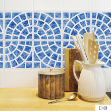 Mediterranean Tiles Wall Sticker for Bathroom kitchen Tile Decor Adhesive Waterproof PVC Kitchen Waist Line