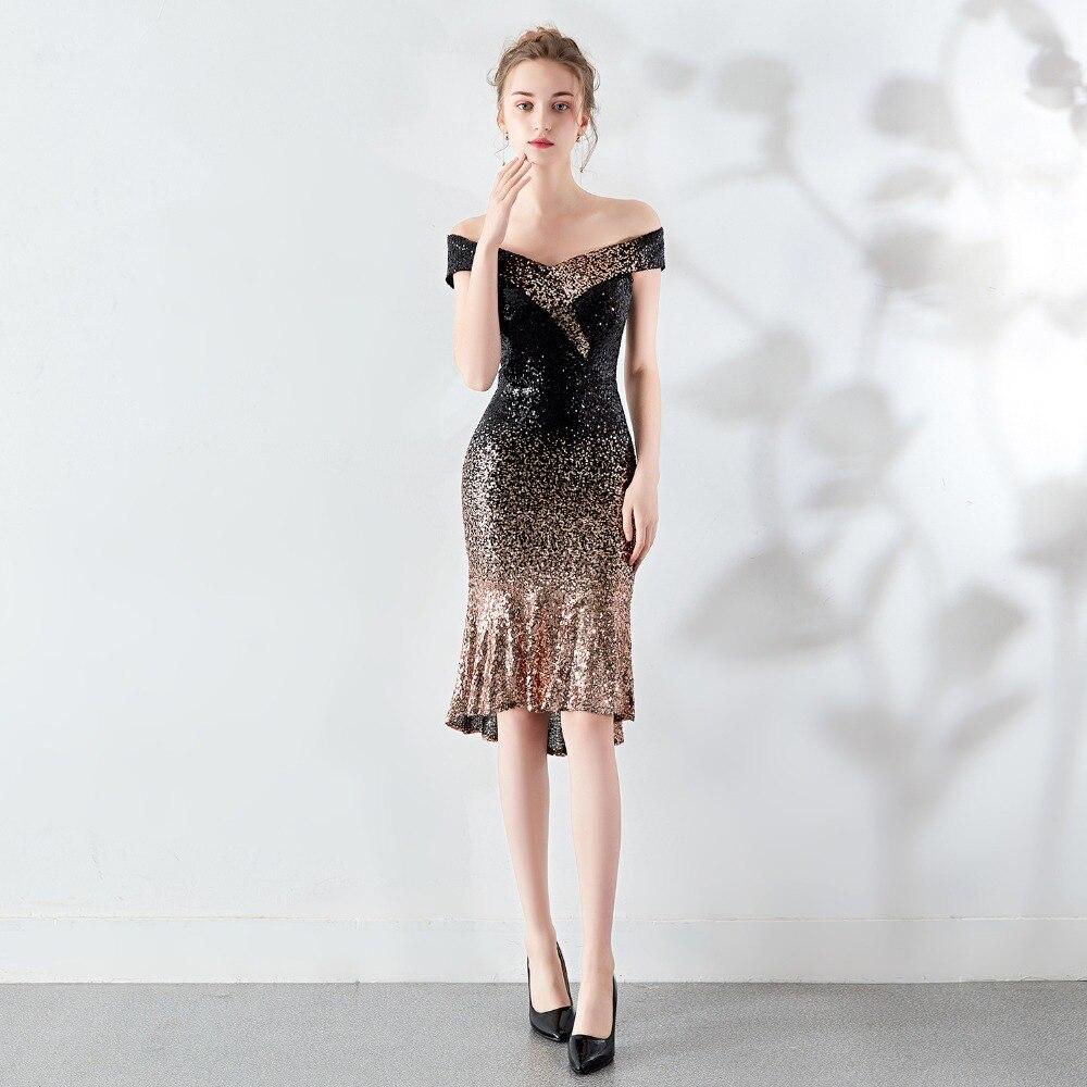 Sladuo Off Shoulder Gradient Sequined Black Gold Knee Length Hip Slim Mermaid Luxury Elegant Formal Evening Party Dress
