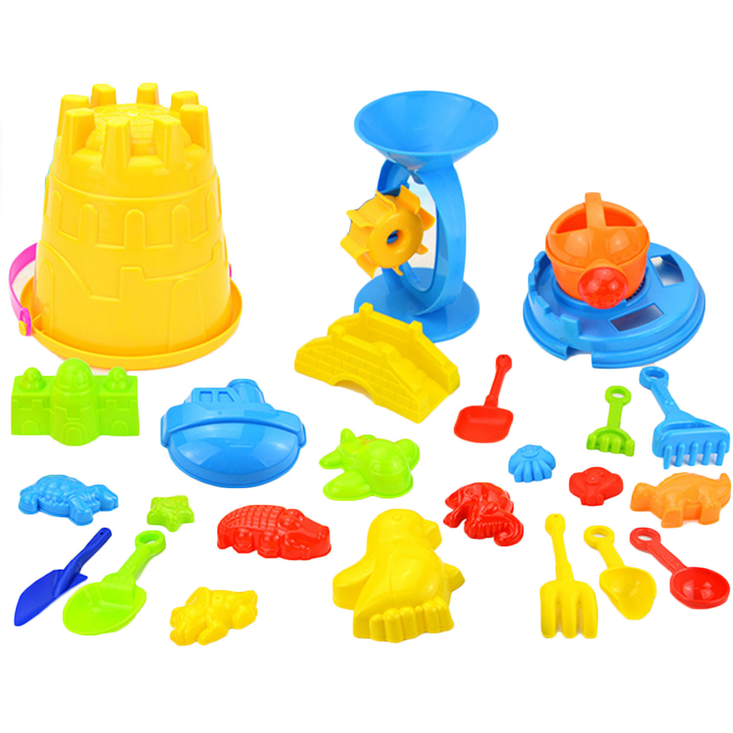 25pcs Funny Kids Beach Sand Game Toy Set Including Shovels Rake Hourglass Bucket Kids Beach Playset Role Play Toy Child Sand Toy